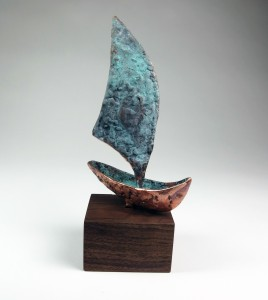 Copper Boat Sculpture